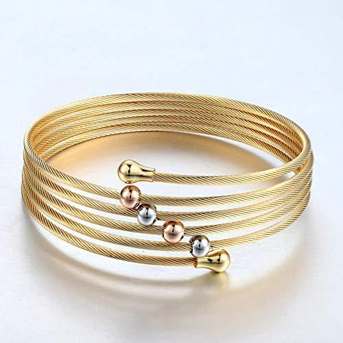 HUSHOUZHUO Goldfarbe Twist Wire Mesh Hand Armreif Multilayer Charm Armbänder Modeschmuck FürFrauen Nickel Wire Mesh