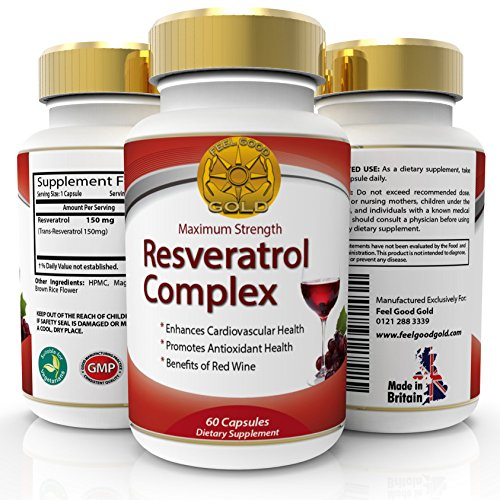 Trans Resveratrol Max Strength High Potency Antioxidant Supplement, Same Benefits As Grape Seed, Blueberry and Red Wine, Polyphenols Extract, Anti Aging, Look Younger, 60 Capsules, 1 - 2 Months Supply Test