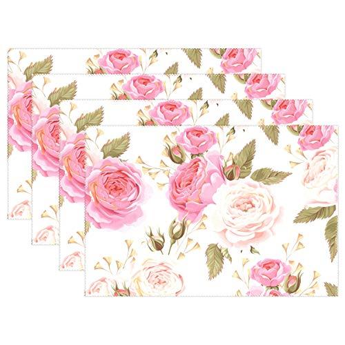 Vinlin Platzdeckchen mit Blumenmuster und Rosenmuster, hitzebeständig, 30,5 x 45,7 cm, 4 Stück, Multi, 6 Stück