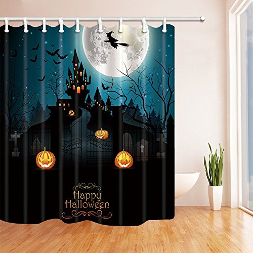 gohebe Halloween Bad Vorhang Flying Hexe mit scary Friedhof und Farmhouse auf der Full Moon Polyester Stoff wasserdicht Duschvorhang für Badezimmer 180,3x 180,3cm Vorhänge Dusche Haken im Lieferumfang enthalten