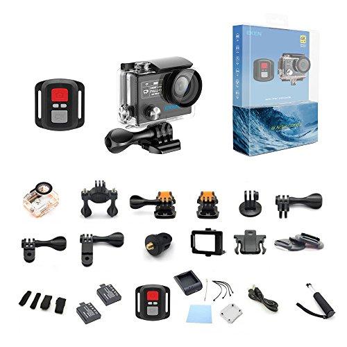 EKEN H8 Pro 4K Actionkamera, wasserdichte Full HD Wifi Sportkamera mit 4K30 / 1080P60 / 720P200fps Video, 12MP Foto und 170 Weitwinkelobjektiv, beinhaltet 17 Montagesätze, 2 Batterien (Schwarz) - 6