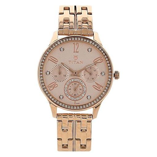 51TP6bzvUhL. SS510  - Titan 95040WM01J Rose Gold for women watch
