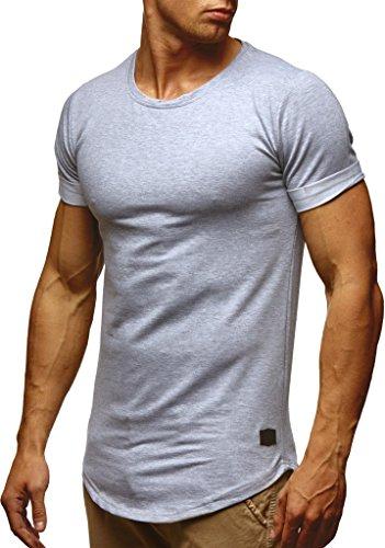 LEIF NELSON Herren Sommer T-Shirt Rundhals-Ausschnitt Slim Fit Baumwolle-Anteil | Moderner Männer T-Shirt Crew Neck Hoodie-Sweatshirt Kurzarm lang | LN6368 Grau Medium