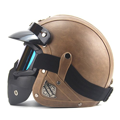Harleeyr Retro Vintage Deutschen Stil Motorrad Helm 3/4 Offenen Gesicht Helm Roller Chopper Cruiser Biker Moto Helm Brille Maske Light Brown Mask XL (Vintage Motorrad-zahnrad)