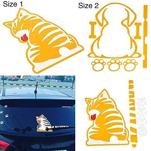 Sedeta & registro; Etiqueta engomada del cuerpo del coche Gato Divertido Ventana Trasera Parabrisas Limpiaparabrisas Limpiador Autoadhesivo Lado de Vinilo Calcomanía DIY (Color : -, Size : -)