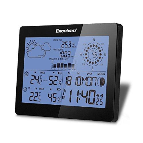 Excelvan Wireless Stazione Meteo con Velocità del Vento e Pioggia, Radiosveglia, Temperatura, Umidità, Barometro, Fase lunare