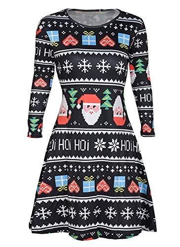 Avacoo Damen Kleid Weihnachten Langarm Weihnachtskleid Festlich Party Kleider Schwarz Weihnachtsmann XX-Large 44 (Weihnachten Damen Für Kleider)