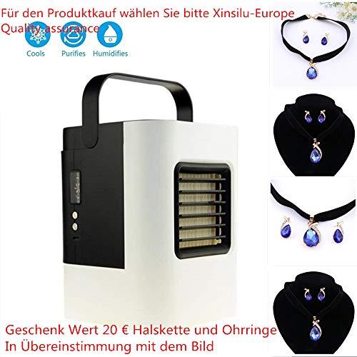 Mobiles Klimageräte Air Cooler mit Wasserkühlung Zimmer Raumentfeuchter Mini Klimaanlage ohne Abluftschlauch für Büro, Hotel, Garage, 3 Kühlstufen - 7 Stimmungslichter (Tragbares Weiß)