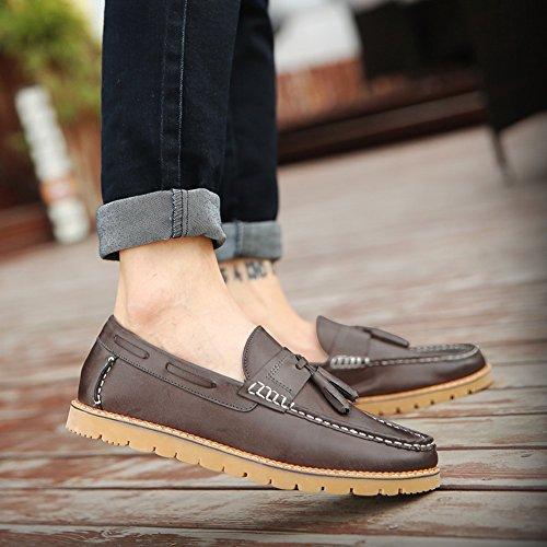 XiaoYouYu Nouveauté, Mocassins homme Loafers frange cuir Chaussures style#2 gris