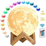 3D Lampada Luna, luna lampada led 16 Colori RGB LED Luce Lunare Notturna Luminosità Regolabile Telecomando & Controllo Tattile Ricarica USB Luce Notturna per decorazioni e regali creativi