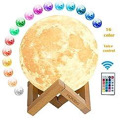 Idea Regalo - 3D Lampada Luna, luna lampada led 16 Colori RGB LED Luce Lunare Notturna Luminosità Regolabile Telecomando & Controllo Tattile Ricarica USB Luce Notturna per decorazioni e regali creativi