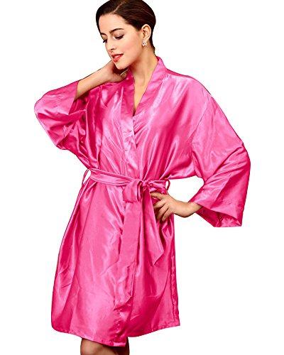 SaiDeng Donna Casual Traspirante Vestaglie Scollo A V Kimono Da Notte In Raso Rose