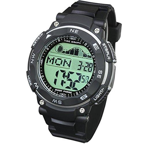 [LAD WEATHER] Gezeitenrechner Mondphasen Flut & Ebbe für Angeln Surfen Tauchen Digital Armbanduhren