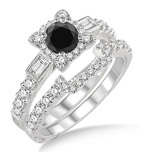 1,5ct Schwarz Diamant Vintage Floral Brautschmuck Set Engagement Ring auf 10K Weiß Gold (10k Weißes Gold Schwarzer Diamant Ring)