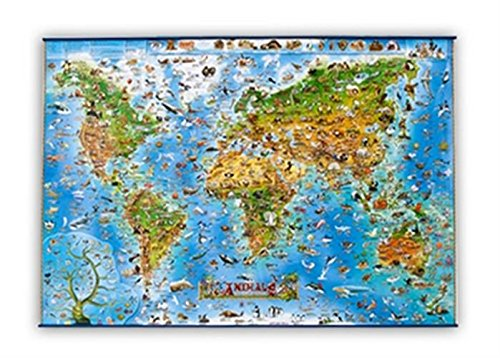 Animals of the World flat laminated map dino (Dino Wall Maps for Children)