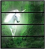 Wallario Möbelfolie/Aufkleber, geeignet für Ikea Malm Kommode - Weißes Einhorn im grünen Wald mit 4 Schubfächern