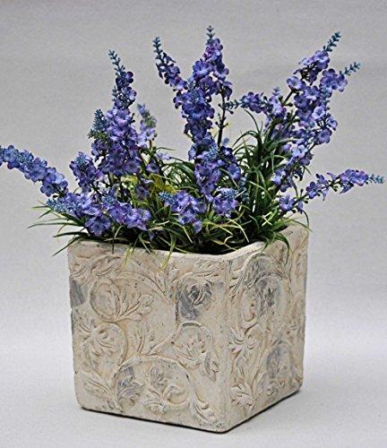 Übertopf, Blumentopf Keramik Landhaus, creme mit floralen Ornamenten 16,5x16,5 cm, H 15,5 cm