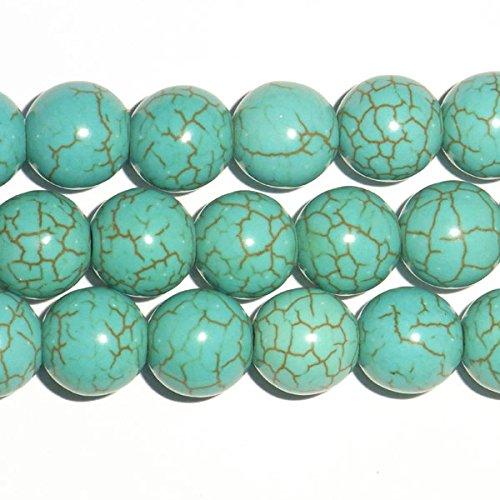 Thetastejewelry 10mm rotondo turchese howlite perline 38,1cm 38cm creazione di gioielli collana guarigione