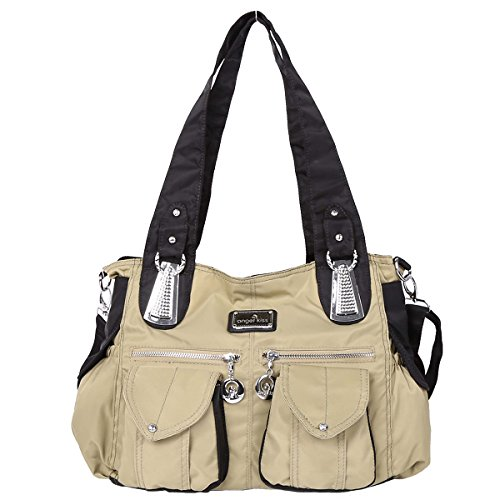 Angelkiss 2 Top Cerniere multi tasche borse di nylon tessuto increspa Tracolle LX1245 Beige