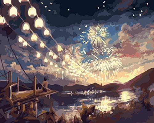 WXLZY DIY Malen nach Zahlen Feuerwerk Ölgemälde für Kinder Erwachsene Anfänger16x20 Zoll...