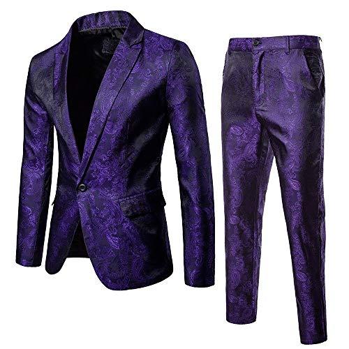 BaZhaHei Uomo Top2Pcs Set Giacca da Uomo Blazer Casual o Formale Blazer Moda Uomo Slim Abiti da Uomo dAffari Abbigliamento Casual Groomsman Due Pezzi