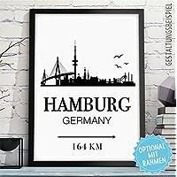 HAMBURG - GERMANY - Kunstdruck mit Skyline, individueller Entfernung + Wunschtext - Rahmen optional - personalisiertes Wand-Bild - originelles Geschenk Geburtstag Jahrestag Hochzeitstag