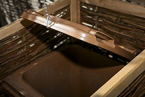 Mülltonnenverkleidung WEIDENPROFI aus Holz mit Weidengeflecht für eine Mülltonne bis 240 Liter - 4