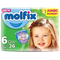 Molfix 3D Extralarge/Jumbo Economie Pack de 108 Couches 15 + kg 1 Mois Taille 6