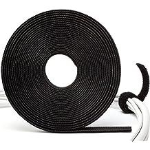 Purovi® Rotolo FERMACAVI nero con adesivo a strappo | RACCOGLI CAVI di alta qualità per raggruppare cavi elettrici | Lungo 5 m e largo 10 mm | Misura adattabile