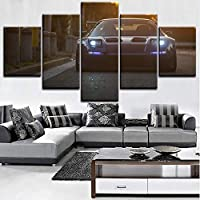 mmwin Canvas Prints Poster Home Decor Wall Art 5 Pieces Scenery Sports Car Modular Pictures Bedside Background work