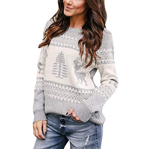Geili Weihnachts Pullover Damen Weihnachten Strickpullover Christmas Sweater Frauen Rundhals Langarm Weihnachten Pulli Bluse Tops Oberteile Festlich Xmas ()