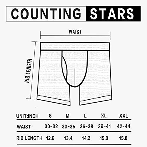 Counting Stars Grau Herren Boxershorts Unterhose,5er Pack ,Sport Baumwolle Unterwäsche Mehrfarbig