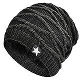Hombres Cozy Invierno Gorra de Punto tartán Beanie Universal Cálido de Punto de esquí Beanie Hat cráneo Slouchy Gorra Sombrero (Negro)