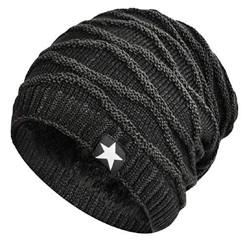 Imagen de hombres cozy invierno  de punto tartán beanie universal cálido de punto de esquí beanie hat cráneo slouchy  sombrero negro