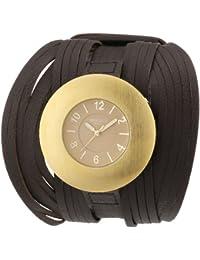 Mike Ellis New York L2966AGU - Reloj analógico de cuarzo unisex, correa de plástico color marrón