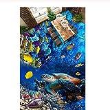 Pbldb Unterwasserwelt Marine Benutzerdefinierte Foto 3D Bodenbelag Wandbild Selbsthaftung Marine World Turtle Tropische Fische Korallen 3D Wandbilder Tapete Für Wände 3 D-400X280Cm