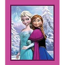 Disney Frozen Panel de tela impresa, diseño de Elsa y Anna, algodón,90cm x 110cm