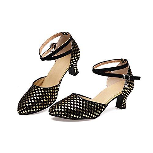 YFF Regalo donne danza scarpe ballo latino ballo tango danza scarpe 5.5CM golden