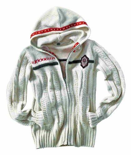 Northland Damen Strickjacke Long Sleeve Hoody Crystal white