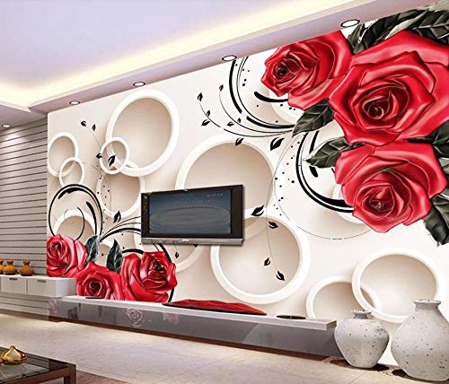 Carta Da Parati 3D Rosa Rossa In Rilievo Semplice E Bella Fotomurali Murales Da Parete 3D Moderni - 200x140cm