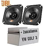 VW Golf 3 Armaturenbrett Front - Lautsprecher Boxen JBL Stage 402 | 2-Wege | 10cm Koax Auto Einbauzubehör - Einbauset