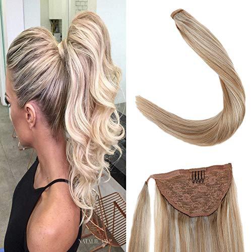 Laavoo 40cm ponytail clip in extensions natural hair biondo cenere a bionda leggera capelli veri coda di cavallo 80grammo un pezzo