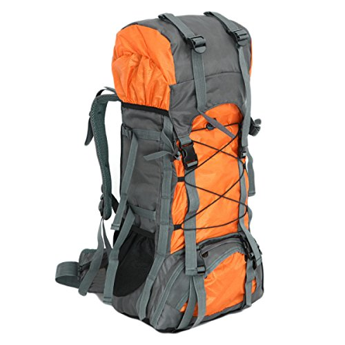 60L Outdoor-Sporttaschen Wasserdicht Nylon Berg Taschen Rucksäcke Wander,LightBlue Yellow
