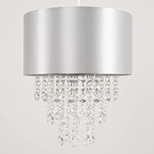 Modern Cylinder Ceiling Pendant Light Shade with Clear Acrylic Jewel Effect Droplets by MiniSun