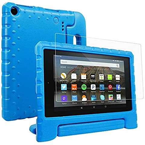 F ir e H D 8 2016 Case and Screen Protector, AFUNTA Shockproof Convertible Handle Stand EVA Protective Case, PET Plastic Cover for Ama zo n All-New 8 inch Display Tablet (6th Generation 2016 Release)- Blue