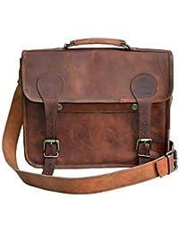 33 cm Hecha a mano Marron elegante Vintage Bolso de cuero del mensajero cada día Bolso de hombro cartera para tablets, ipad, charger regalo para hombres mujeres