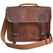 33 cm Hecha a mano Marron elegante Vintage Bolso de cuero del mensajero cada día Bolso