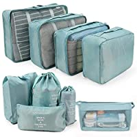Packing Cubes for Suitcase, IEOKE 9 PCS Travel Luggage Organiser Set High Quality Durable Travel Essentials Bag Clothes Shoes Cosmetics Toiletries Cable Storage Bags (Light Blue)