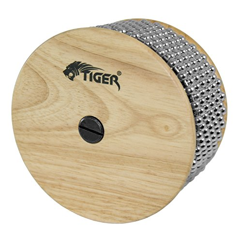 Tiger Large Wooden Cabasa - Rubber Coated Handle and Steel Ball Cylinder