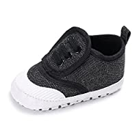 YUHUAWYH Sweet Canvas Baby Sneaker Baby Soft Bottom Canvas Toddler Shoes (13cm:12-18 Month, Black)